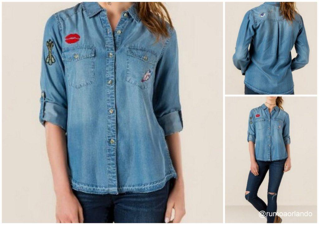 Blusa jeans de botão com patchwork - Valor: U$ 48,00