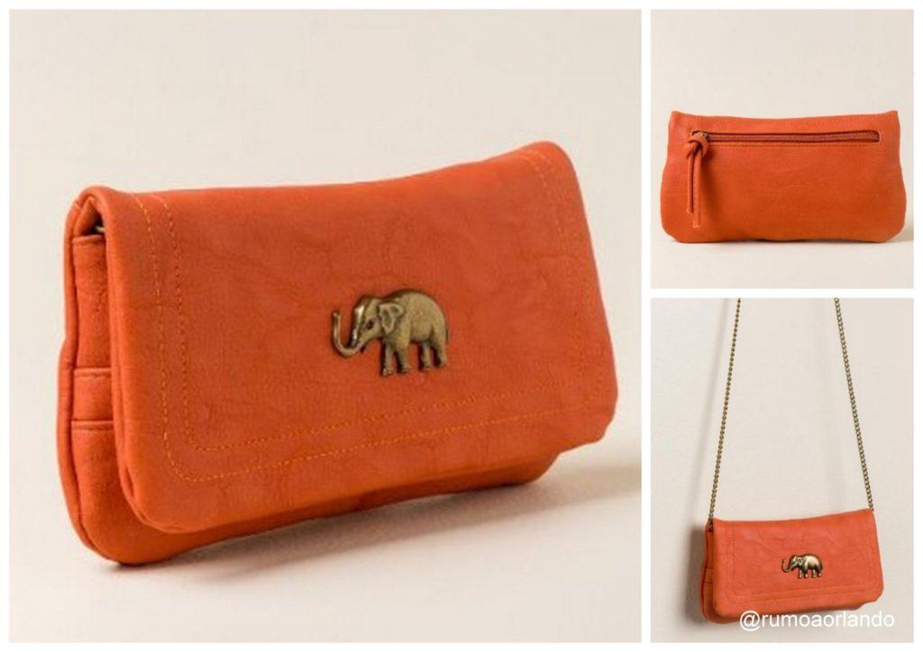 Bolsa de couro laranja transpassada - Valor: U$ 28,00