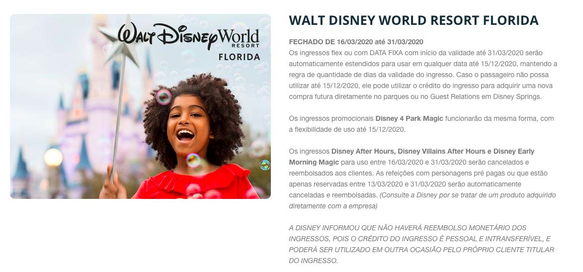 reembolso de ingressos Disney