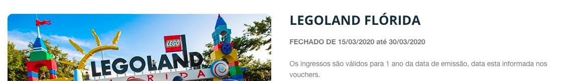 reembolso de ingressos Lego Land