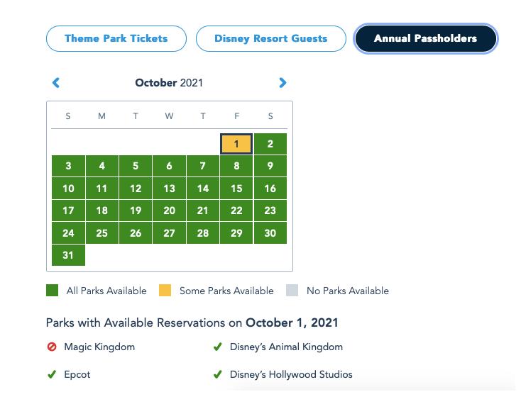 reserva para o parque Magic Kingdom em 01 de outubro estão esgotados
