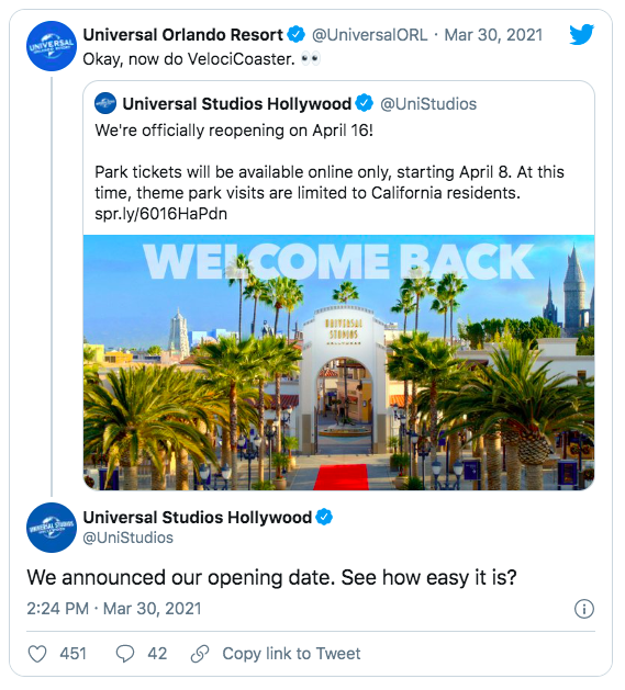 reabertura universal studios california